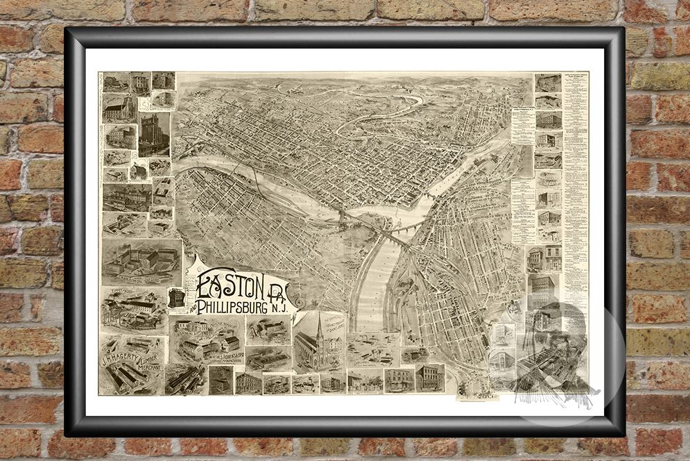 Easton, PA Historical Map - 1900