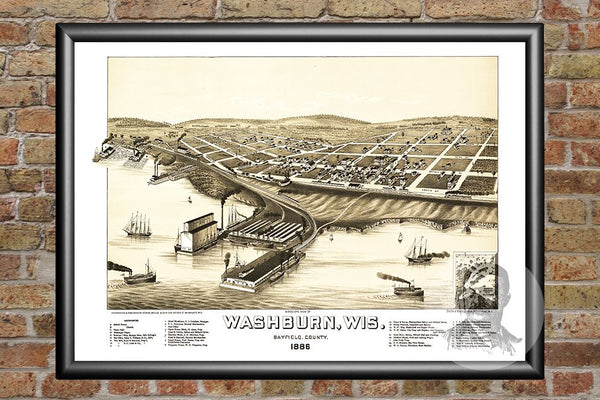 Washburn, WI Historical Map - 1886