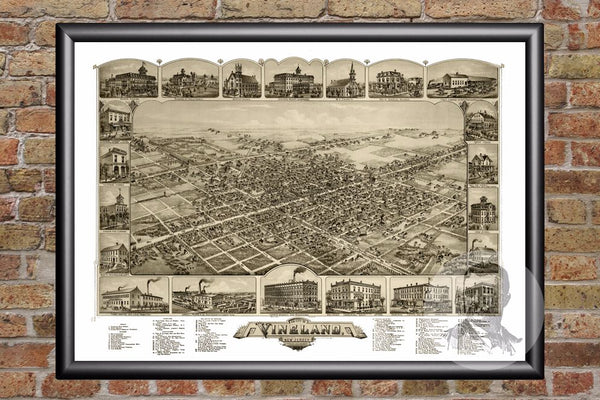 Vineland, NJ Historical Map - 1885