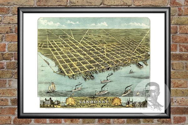Sandusky, OH Historical Map - 1870