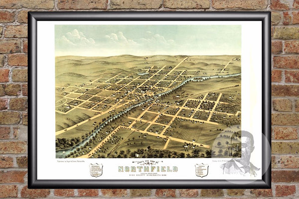 Vintage Map of Northfield, MN from 1869