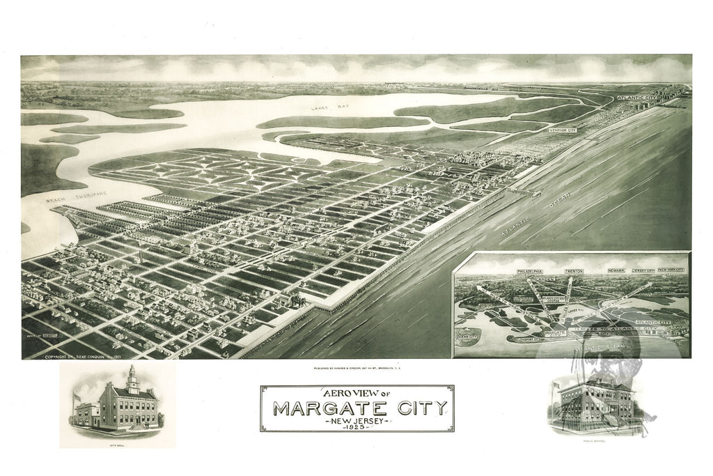 Margate City, NJ Historical Map - 1925