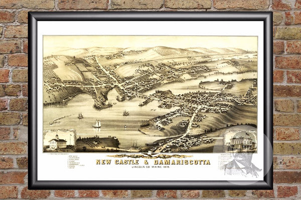 New Castle & Damariscotta, ME Historical Map - 1878