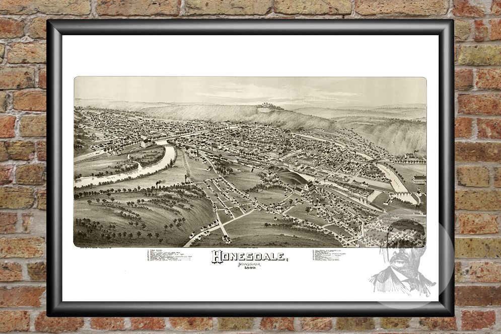 Honesdale, PA Historical Map - 1890