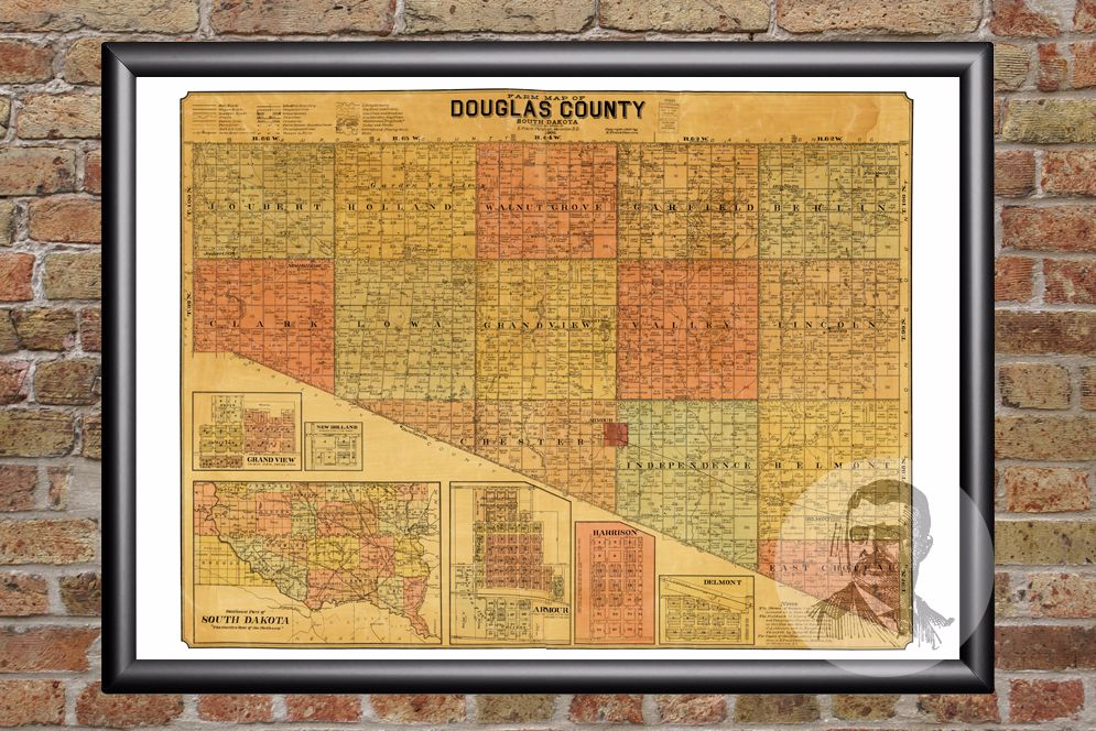 Douglas County, SD  Map - 1900 - Ted's Vintage Maps