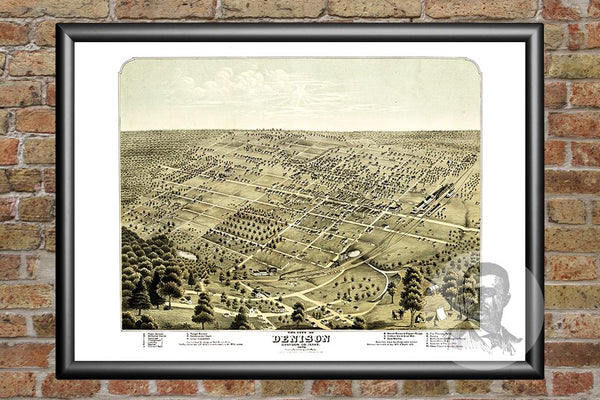 Denison, TX Historical Map - 1876
