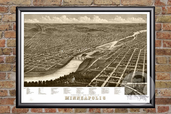 Vintage Map of Minneapolis, MN from 1879