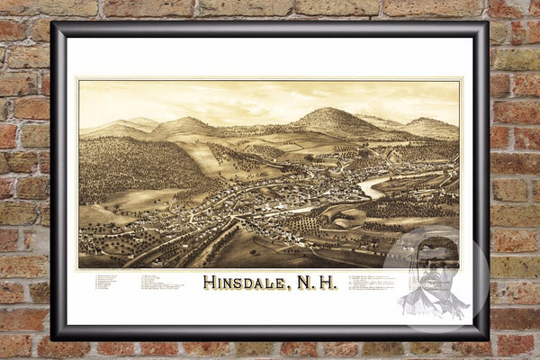 Hinsdale, NH Historical Map - 1886