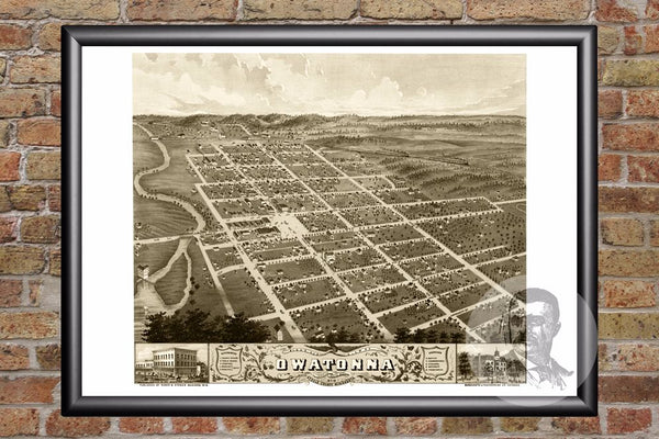 Vintage Map of Owatonna, MN from 1870