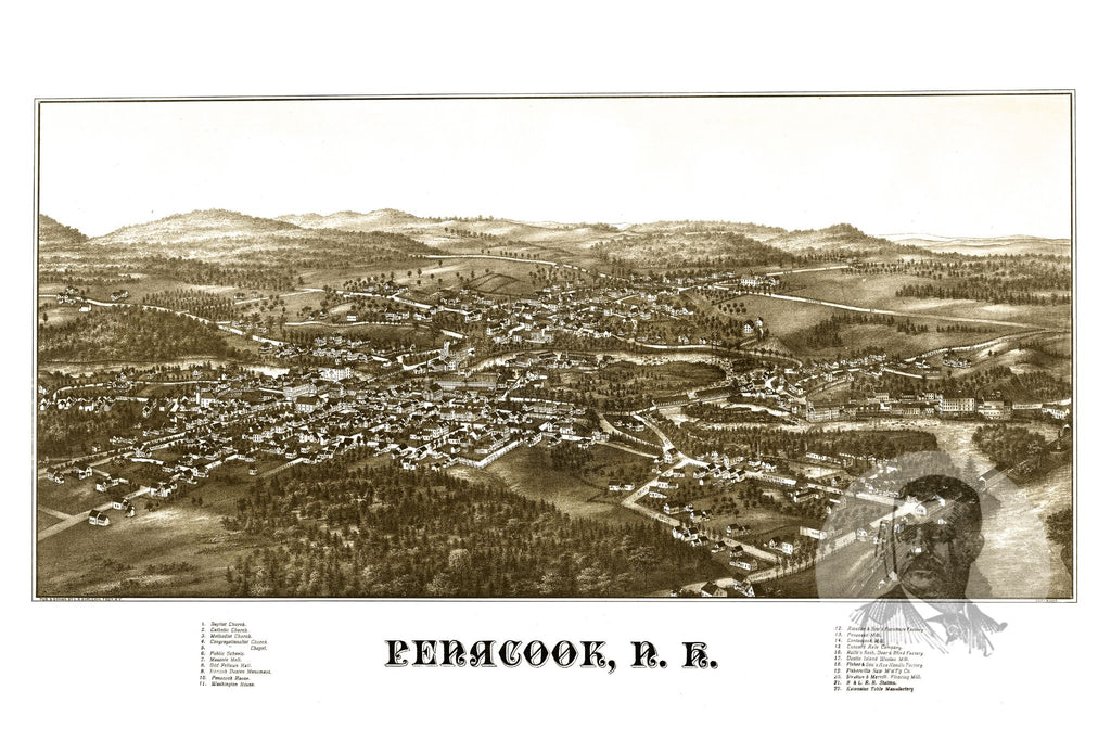 Penacook, NH Historical Map - 1887