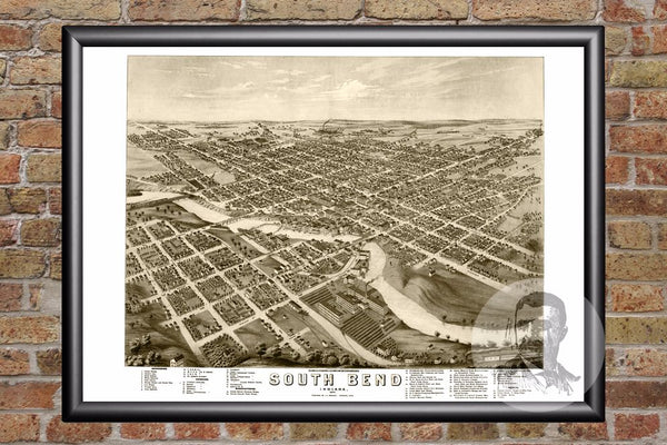 South Bend, IN Historical Map - 1874