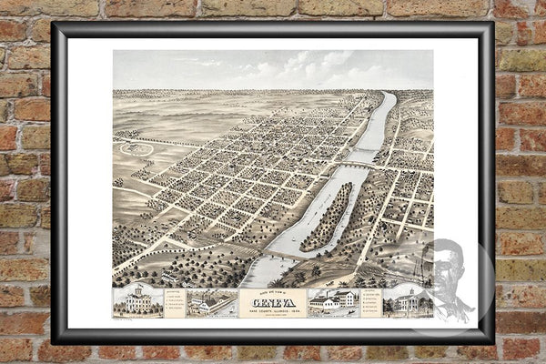 Geneva, IL Historical Map - 1869