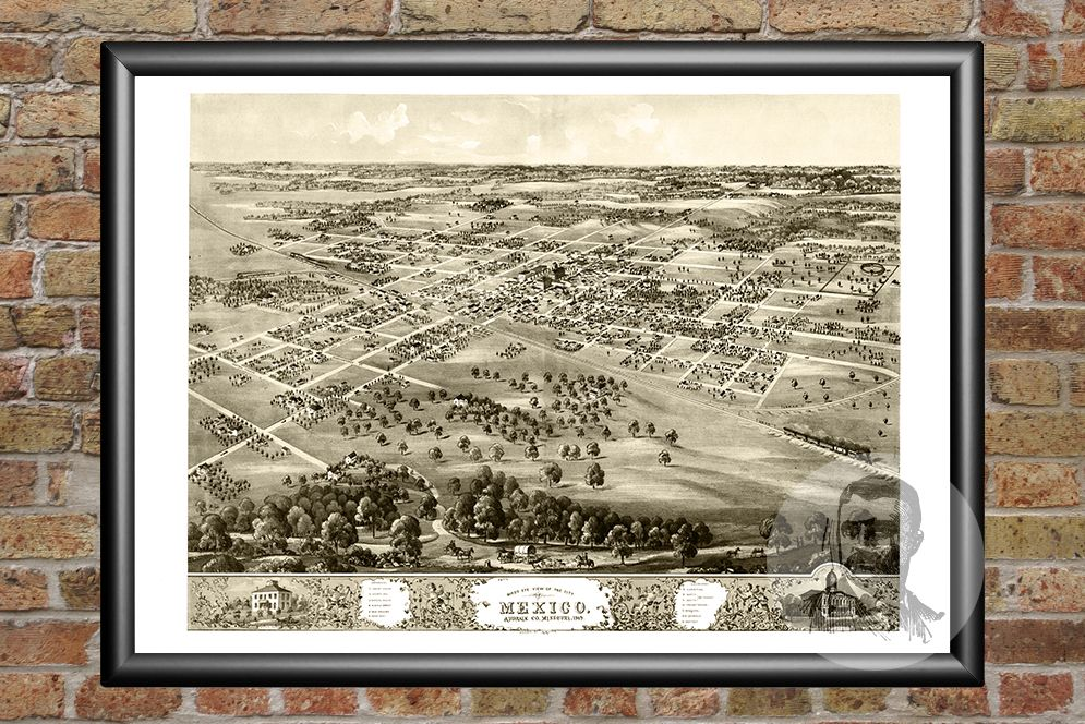 Mexico, MO Historical Map - 1869