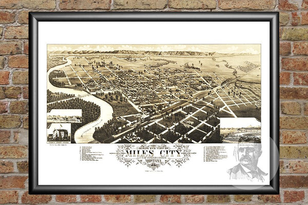 Miles City, MT Historical Map - 1883