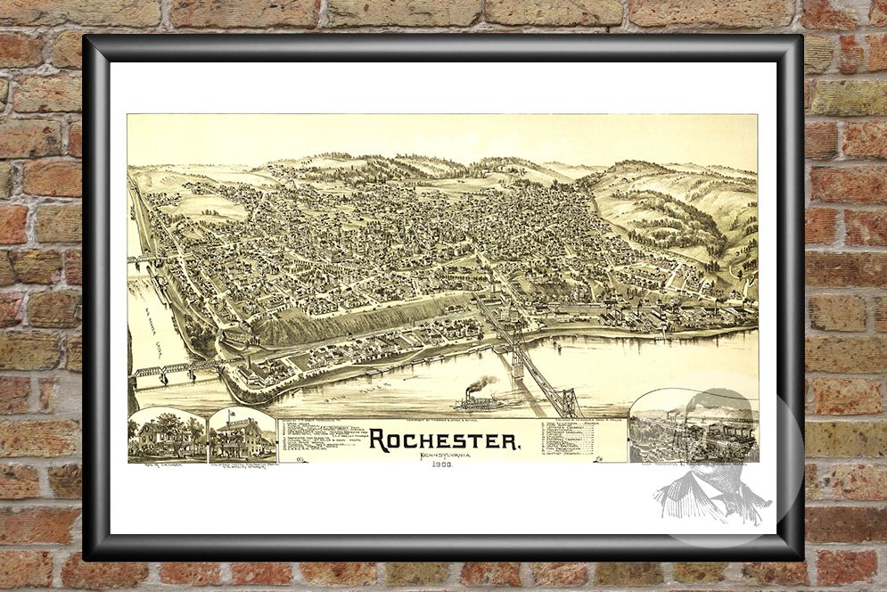 Rochester, PA Historical Map - 1900