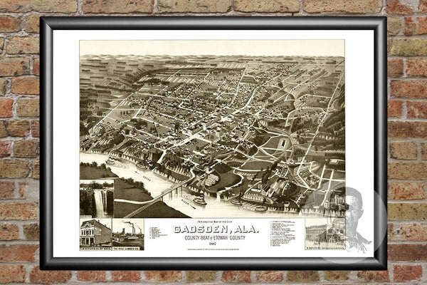 Gadsden, AL Historical Map - 1887