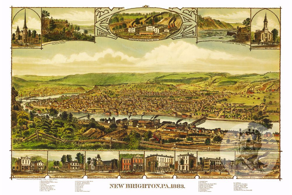 New Brighton, PA Historical Map - 1883