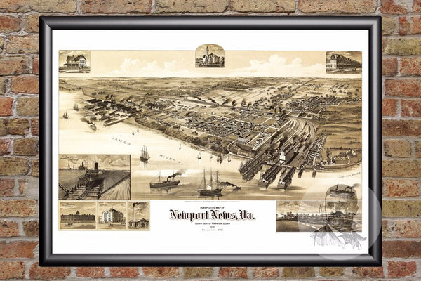 Newport News, VA Historical Map - 1891