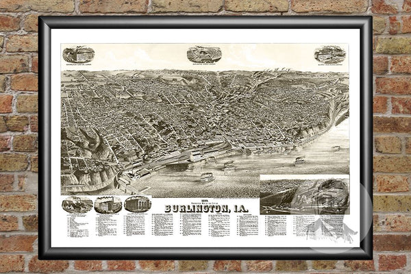 Burlington, IA Historical Map - 1889