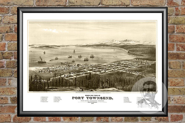 Port Townsend, WA Historical Map - 1878