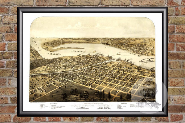 Port Huron, MI Historical Map - 1867