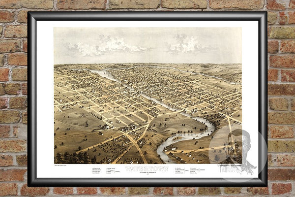 Watertown, WI Historical Map - 1867