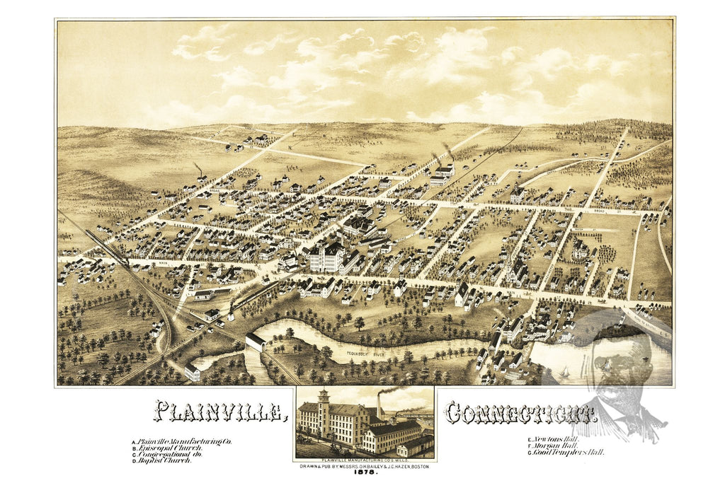 Plainville, CT Historical Map - 1878