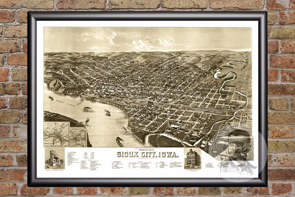 Sioux City, IA Historical Map - 1888