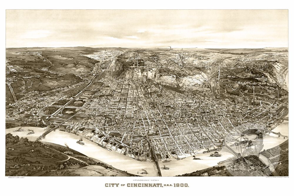 Cincinnati OH Historical Map Teds Vintage Art - Cincinnati in us map