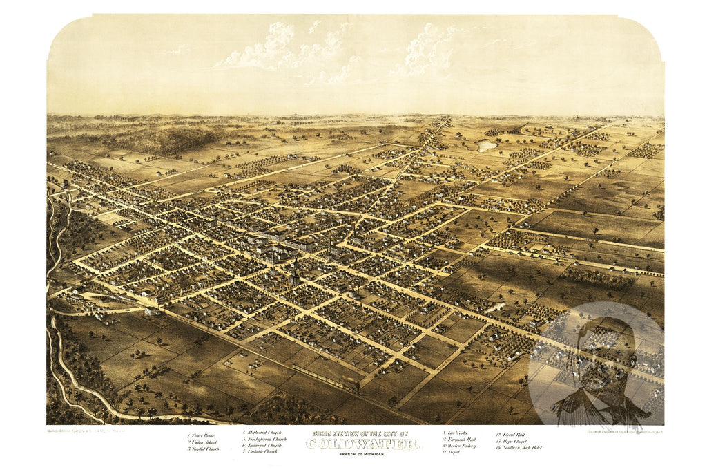 Coldwater, MI Historical Map - 1868 - Ted's Vintage Maps