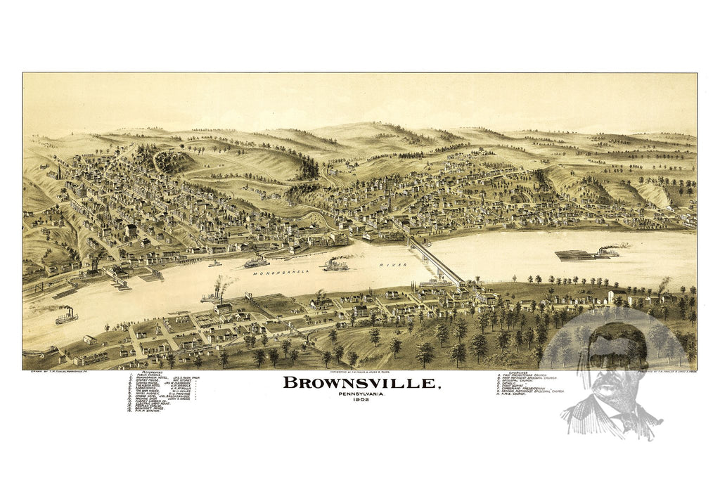 Brownsville, PA Historical Map - 1902 - Ted's Vintage Maps
