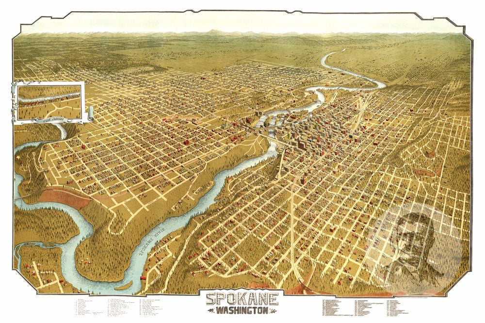 Spokane, WA Historical Map - 1905