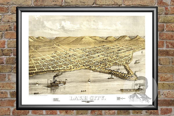 Vintage Map of Lake City, MN from 1867 - 24