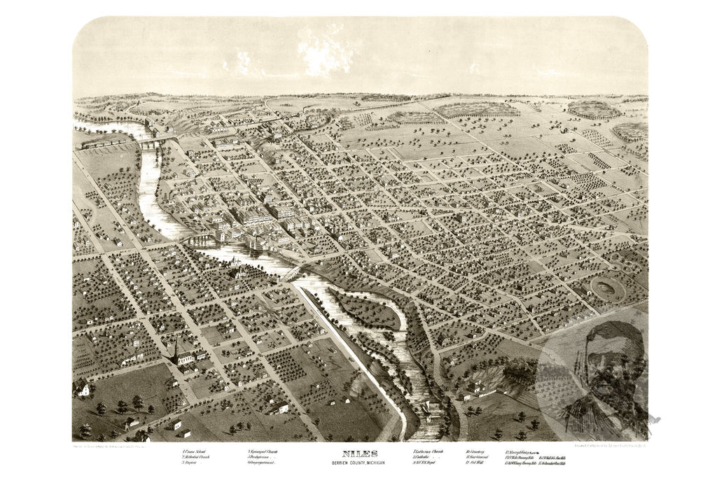 Niles, MI Historical Map - 1868