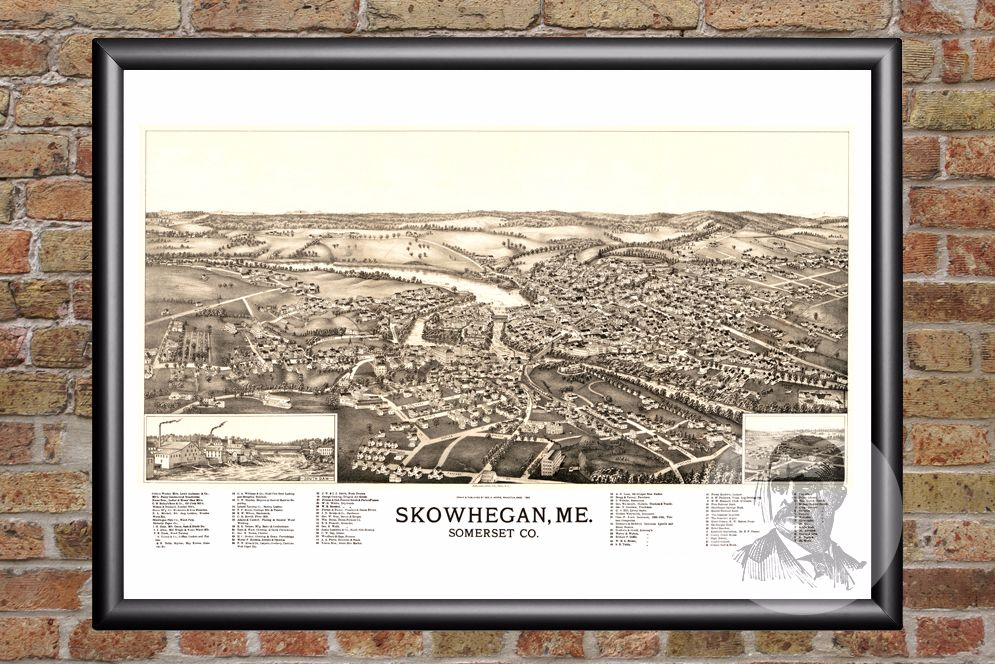 Skowhegan, ME Historical Map - 1892
