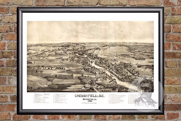 Cherryfield, ME Historical Map - 1896