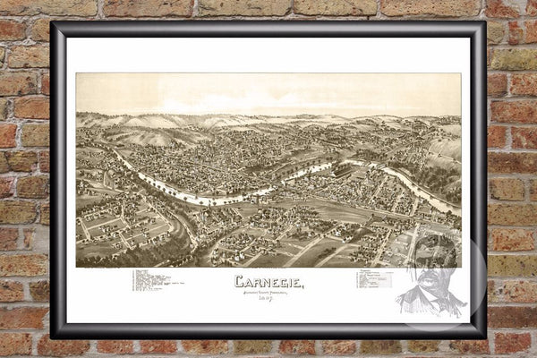 Carnegie, PA Historical Map - 1897
