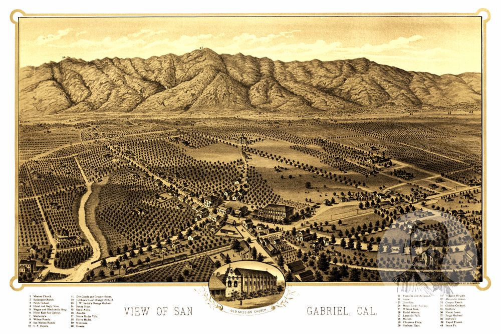 San Gabriel, CA Historical Map - 1893