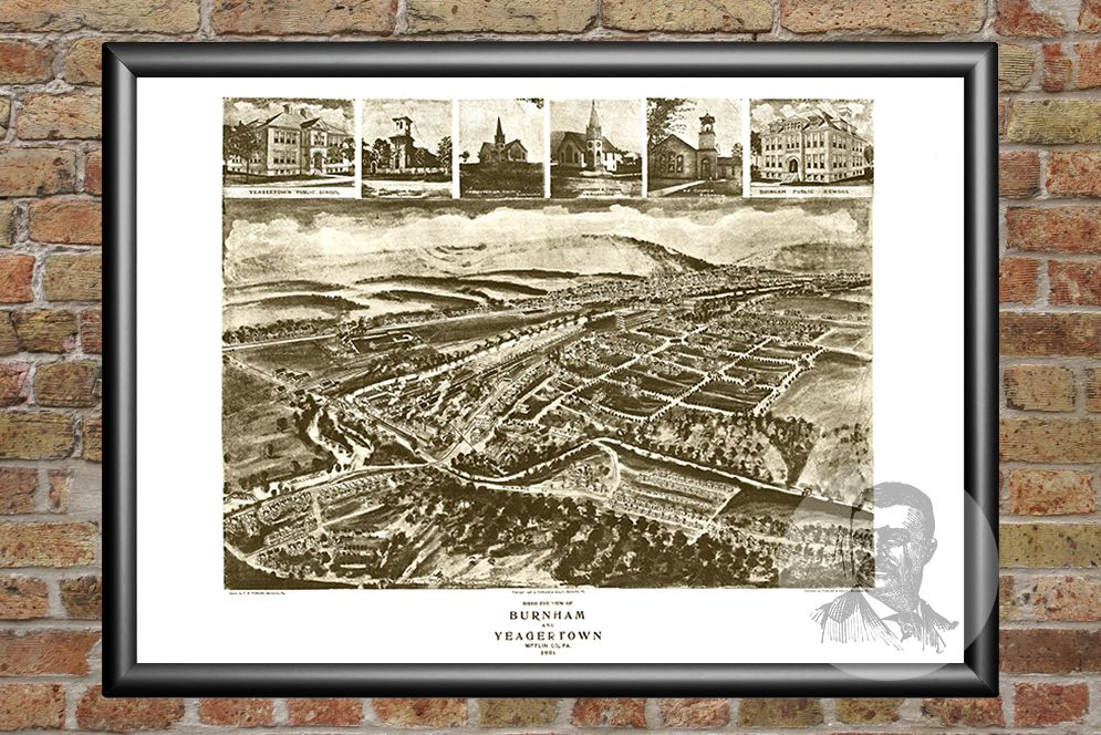 Burnham, PA Historical Map - 1906 - Ted's Vintage Maps