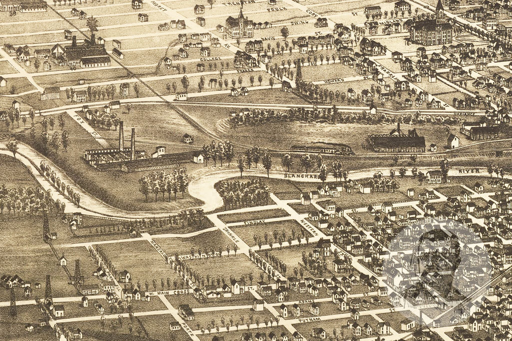 Findlay, OH Historical Map - 1889 - Ted's Vintage Maps
