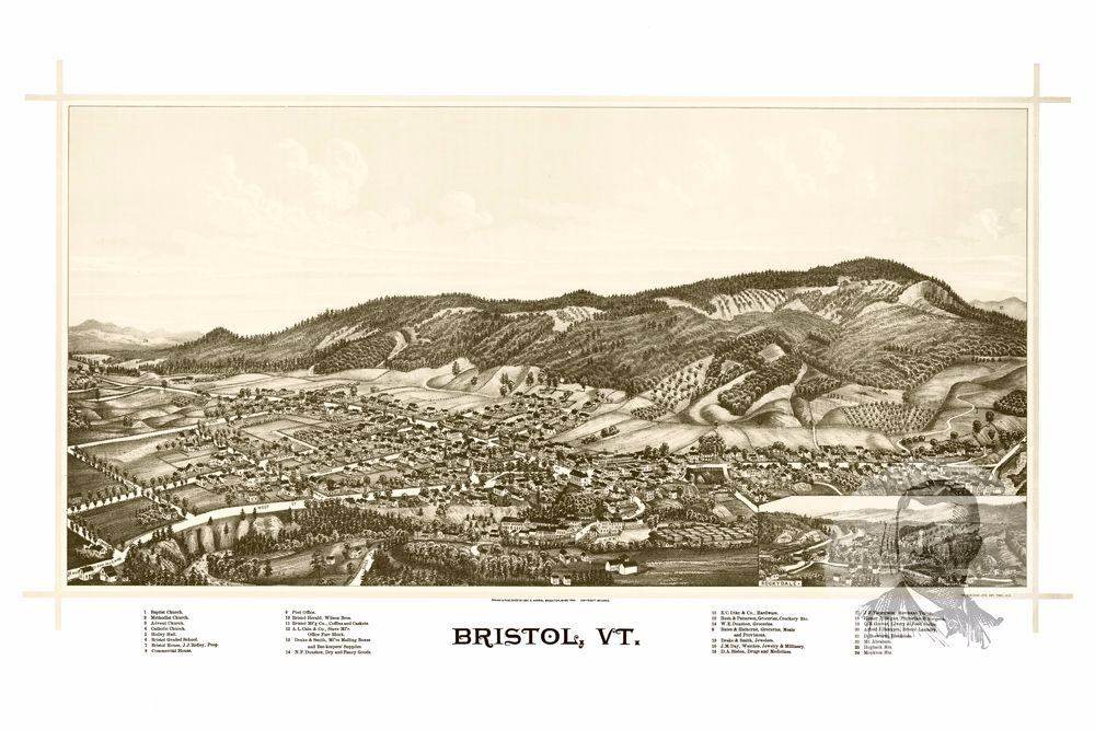 Bristol, VT Historical Map - 1889 - Ted's Vintage Maps
