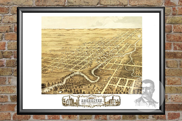 Vintage Map of Rochester, MN from 1869