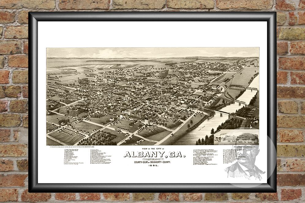Albany, GA Historical Map - 1885 - Ted's Vintage Maps
