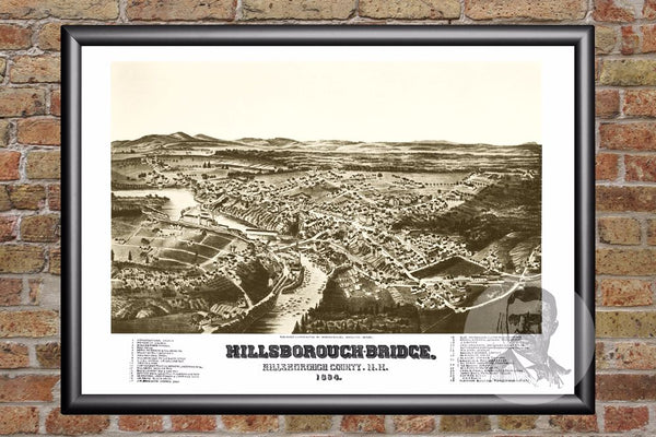 Hillsborough-Bridge, NH Historical Map - 1884