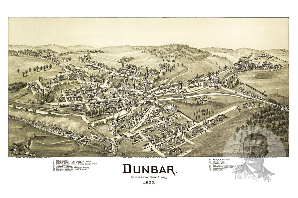 Dunbar, PA Historical Map - 1900 - Ted's Vintage Maps