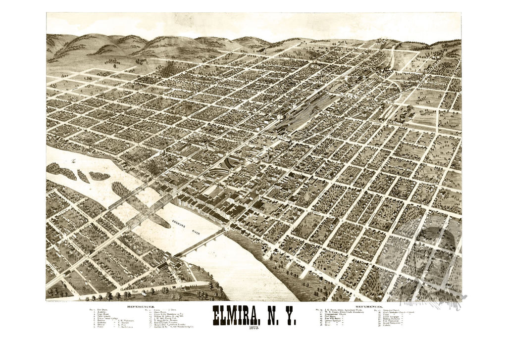 Elmira, NY Historical Map - 1873 - Ted's Vintage Maps