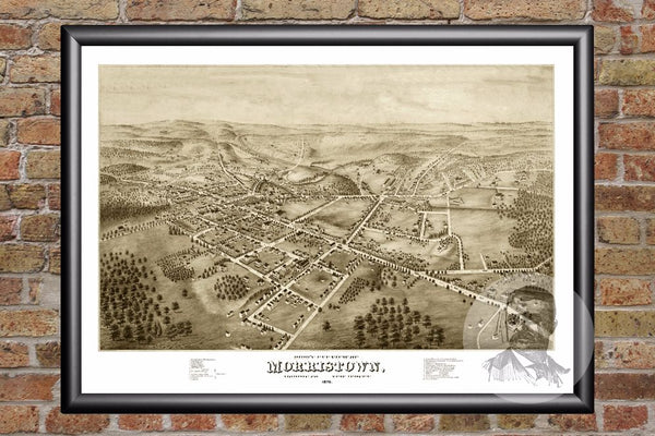 Morristown, NJ Historical Map - 1876