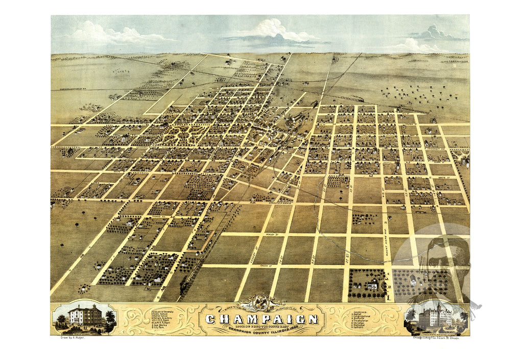 Champaign, IL Historical Map - 1869 - Ted's Vintage Maps
