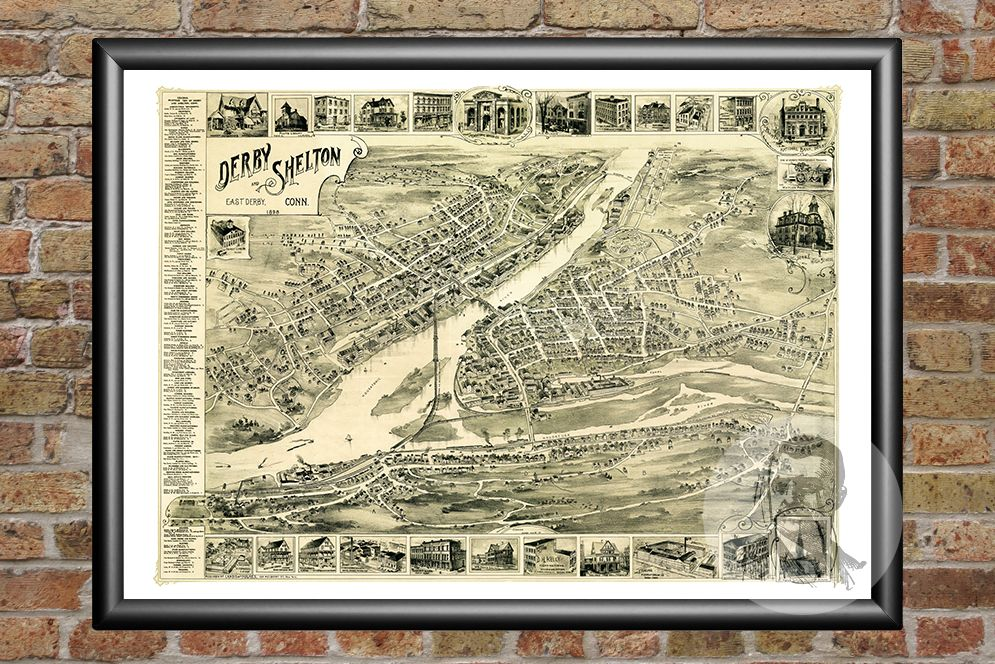 Derby, CT Historical Map - 1898 - Ted's Vintage Maps