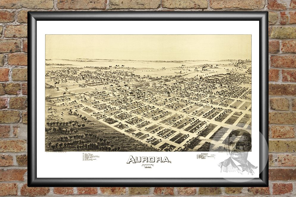 Aurora, MO Historical Map - 1891